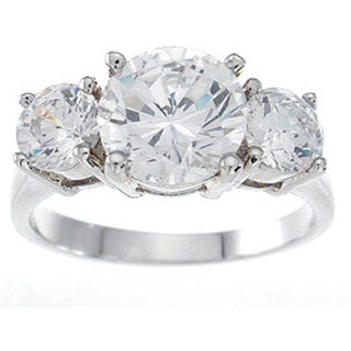Rhodium-plated Sterling Silver 2 1/2 TCW Brilliant 3-stone Cubic Zirconia Engagement Ring