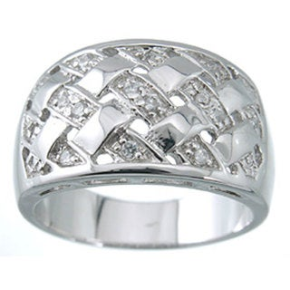Rhodium-plated Sterling Silver Fashion Pave Cubic Zirconia Band