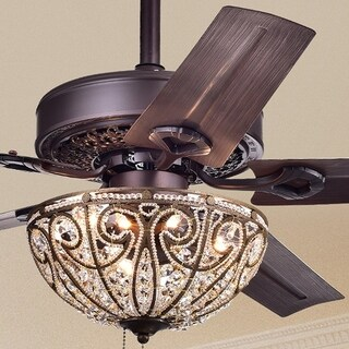 Catalina Bronze-finished 5-blade, 48-inch Crystal Ceiling Fan (Optional Remote) (2 options available)