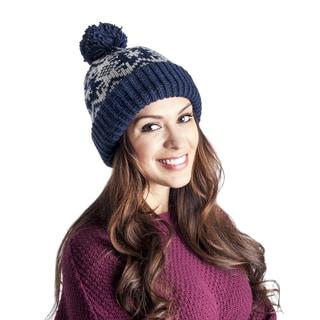 Muk Luks Women's Snowflake Nordic Pom Cuff Cap