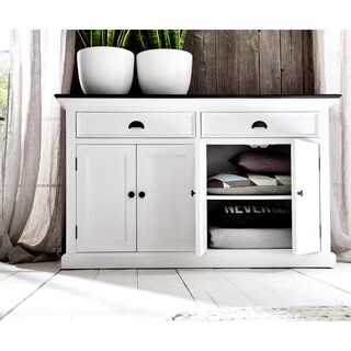 Infinita Interior White Distressed Buffet with Black Top