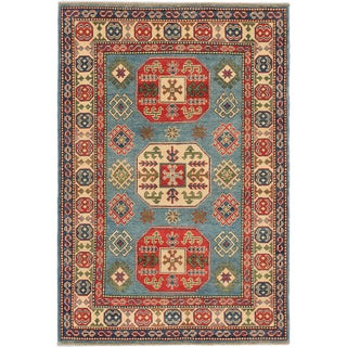 Ecarpetgallery Finest Gazni Medium Weak Cyan Wool Geometric Rug (4'0 x 5'11)