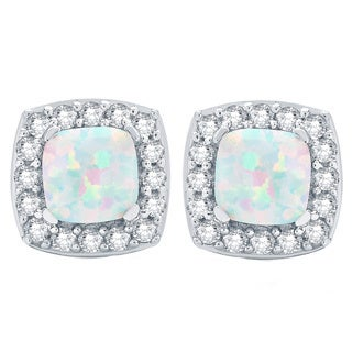 Divina Sterling Silver Opal and Created White Sapphire Square Stud Earrings