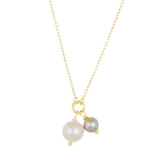 Lesa Michelle 18k Gold Over Sterling Silver White and Grey Pearl Necklce
