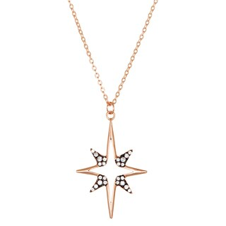 Lesa Michelle Two-tone Rose Gold Over Sterling Silver Simulated Diamond North Star Necklace