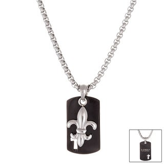 Reinforcements Two-tone Stainless Steel Fleur De Lis Dog Tag Necklace