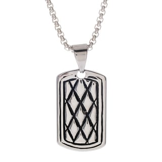 Reinforcements Silver Stainless Steel Diamond-design Dog Tag Necklace