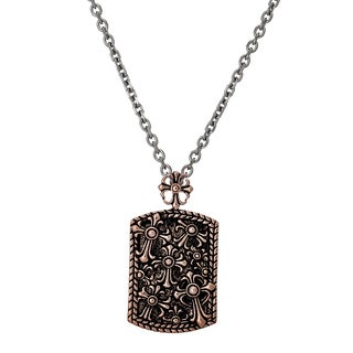 Reinforcements Men's Rose Gold-plated Stainless Steel Cross Dog Tag Necklace