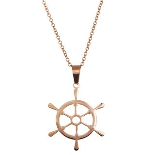Lesa Michelle Stainless Steel Rose Gold Plated Ship Wheel Necklace