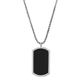 Reinforced Men's Black Stainless Steel Dog Tag Necklace