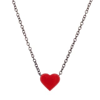 Lesa Michelle Black Stainless Steel Red Heart Girls' Necklace