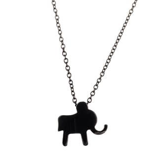 Lesa Michelle Kids' Black Stainless Steel Elephant Necklace