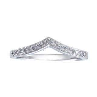 14k White Gold 1/5ct TDW Diamond V-Shape Milgrain Wedding Band (G-H, I1-I2)