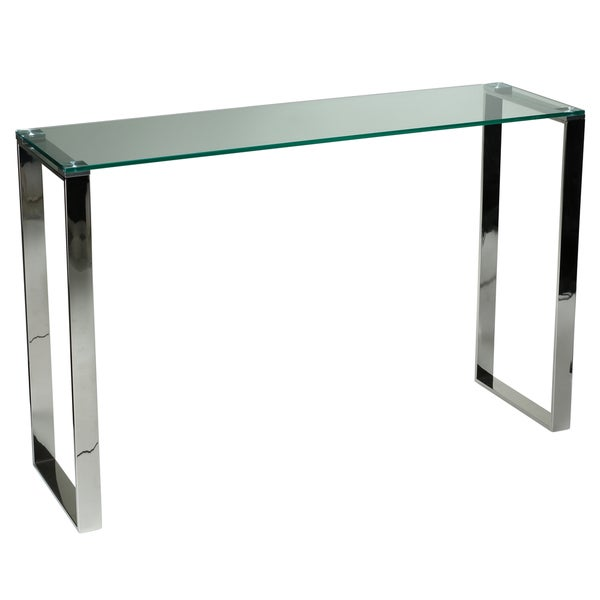 Delicieux Cortesi Home Remi Contemporary Chrome Finish Glass Console Table