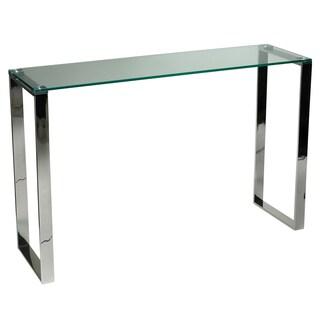 Cortesi Home Remi Contemporary Chrome Finish Glass Console Table