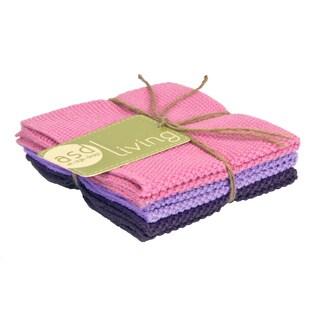 Set of 3 Pink Rose Cotton Dishcloths