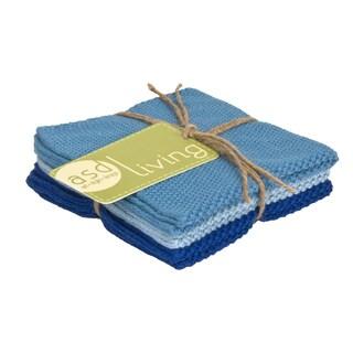 Set of 3 Sky Blue Cotton Dishcloths