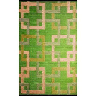 b.b.begonia Squares Reversible Design Green and Beige Outdoor Area Rug (6' x 9')