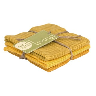 100-percent Cotton Golden Knitted Dish Cloth (Set of 3)