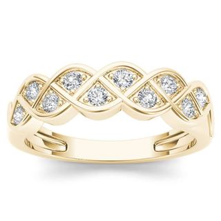 De Couer 10k Yellow Gold 1/4ct TDW Diamond Entangled Lace Ring (H-I, I2)