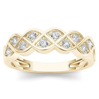 De Couer 10k Yellow Gold 1/4ct TDW Diamond Entangled Lace Ring