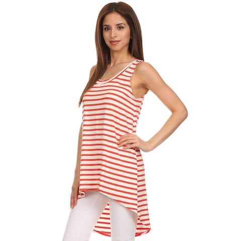 MOA Collection Women's Pinstripe hi-lo Relaxed Scoop Tank