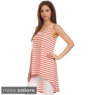 MOA Collection Women's Pinstripe hi-lo Relaxed Scoop Tank (2 options available)