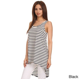 MOA Collection Women's Pinstripe hi-lo Relaxed Scoop Tank (5 options available)