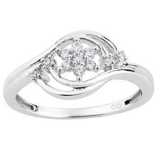 10k White Gold 1/6ct TDW Diamond Floral Bypass Ring