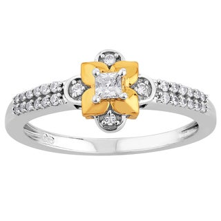 10k Two-tone Gold 1/4ct TDW Diamond Floral Promise Ring (H-I, I1-I2)