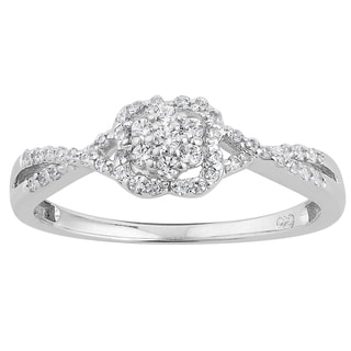 10k White Gold 1/4ct TDW Diamond Clover Halo Split Shank Promise Ring