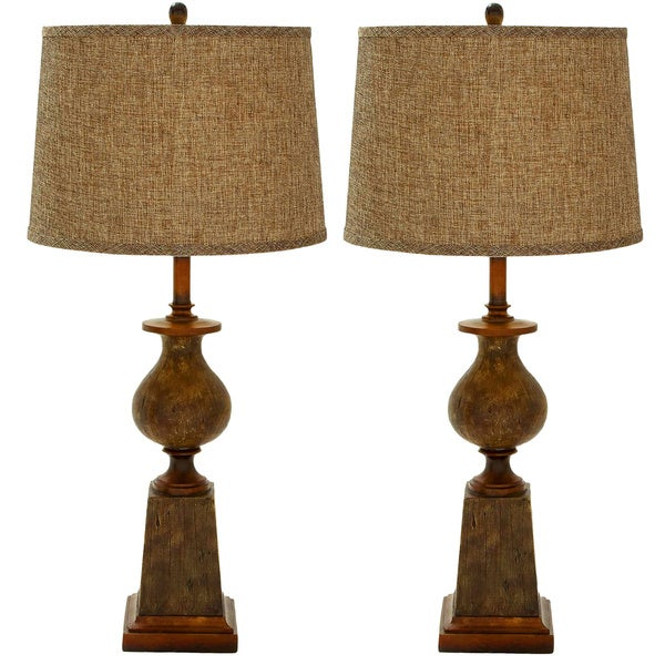 Navarro Polystone Rustic Table Lamp - Set of 2 - 3 Way