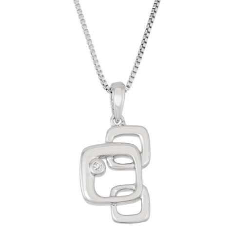 Boston Bay Diamonds 925 Sterling Silver .02ct TDW Diamond Accent Square Drop Fashion Pendant w/ Chain
