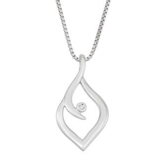 Boston Bay Diamonds Sterling Silver Diamond Accent Free-form Marquise Fashion Pendant