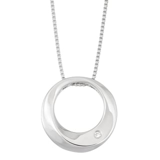 Boston Bay Diamonds Sterling Silver Diamond Accent Dimensional Round Fashion Pendant