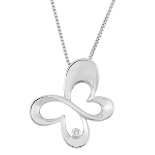 Boston Bay Diamonds Sterling Silver Diamond Accent Butterfly Outline Pendant
