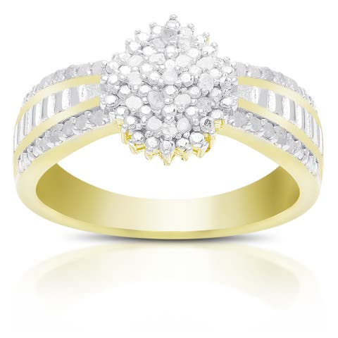 Finesque Sterling Silver 1/4ct TDW Diamond Ring