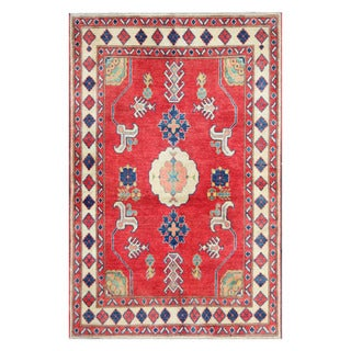 Herat Oriental Afghan Hand-knotted Tribal Kazak Red/ Ivory Wool Rug (3'11 x 5'10)