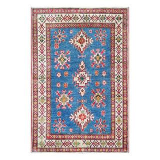 Herat Oriental Afghan Hand-knotted Tribal Kazak Blue/ Ivory Wool Rug (4' x 6')