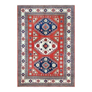 Herat Oriental Afghan Hand-knotted Tribal Kazak Red/ Ivory Wool Rug (6'2 x 8'10)