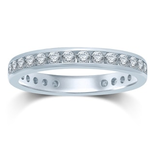 Unending Love 14k Gold 1ct TDW Machine-set Round Diamond Eternity Band ( HI , I1-I2)