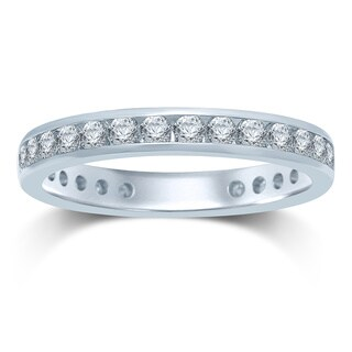 Unending Love 14k Gold 1ct TDW Machine-set Round Diamond Eternity Band - White H-I (More options available)