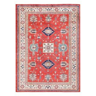 Herat Oriental Afghan Hand-knotted Tribal Kazak Red/ Ivory Wool Rug (8'3 x 11'4)