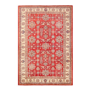 Herat Oriental Afghan Hand-knotted Tribal Kazak Red/ Ivory Wool Rug (9'8 x 13'9)