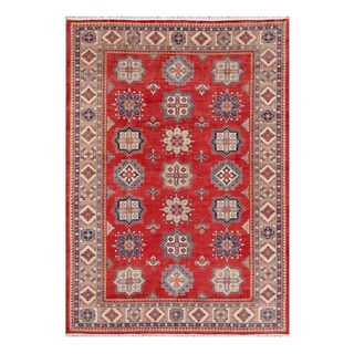 Herat Oriental Afghan Hand-knotted Tribal Kazak Red/ Ivory Wool Rug (10'3 x 14'5)