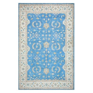 Herat Oriental Afghan Hand-knotted Tribal Oushak Light Blue/ Ivory Wool Rug (6' x 9'4)