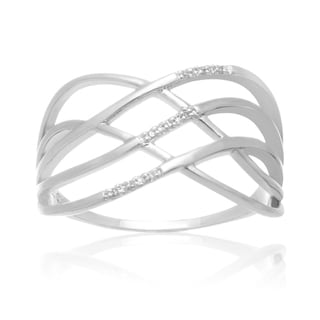 Diamond Swirl Band Ring In Platinum Over Brass (J-K, I1-I2)