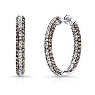 Victoria Kay Sterling Silver 1 1/4ct TDW Brown Diamond Hoop Earrings