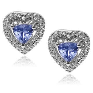 Journee Collection Sterling Silver Topaz Tanzanite Heart Stud - Blue