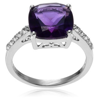 Journee Collection Sterling Silver Amethyst and Topaz Ring